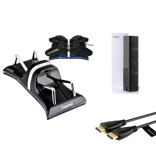 Insten For Sony PS3 Controller Dual Charging Dock+USB Cooling Fan+6' 1.8m HDMI Cable