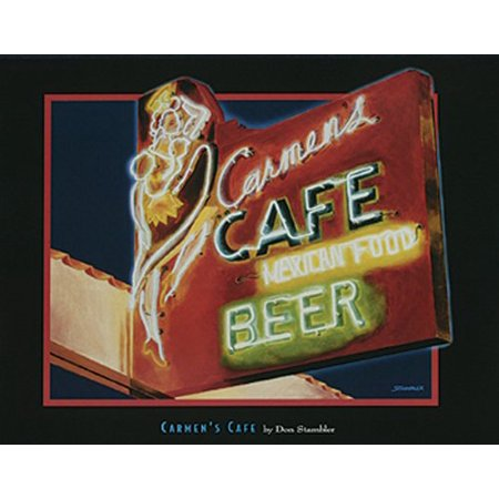 Neon Poster Sign (Carmens by Don Stambler 11x14 Art Print Poster Cafe Beer neon)
