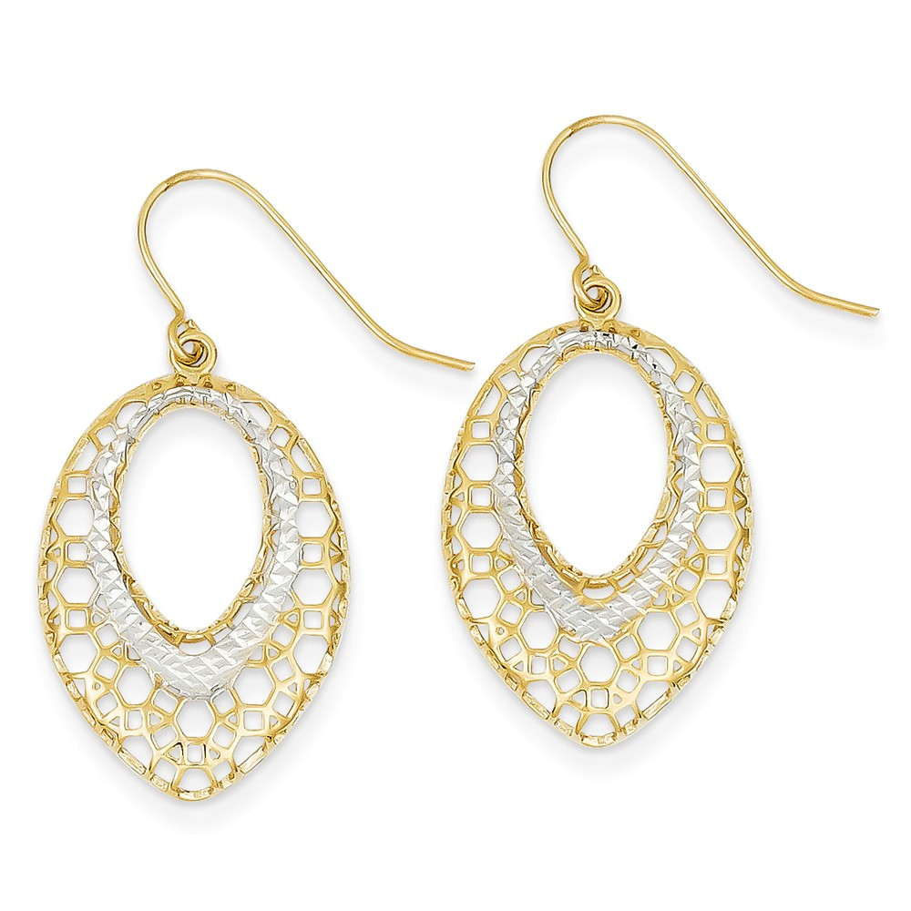 14K Yellow Gold and Rhodium Filigree Oval Dangle Earrings (1.3IN x 0.6IN )