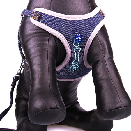 Collars Harnesses Leashes (Cute Bone Design Denim Small Pet Dog Cat Rope Collar Leash Mesh Harness and)