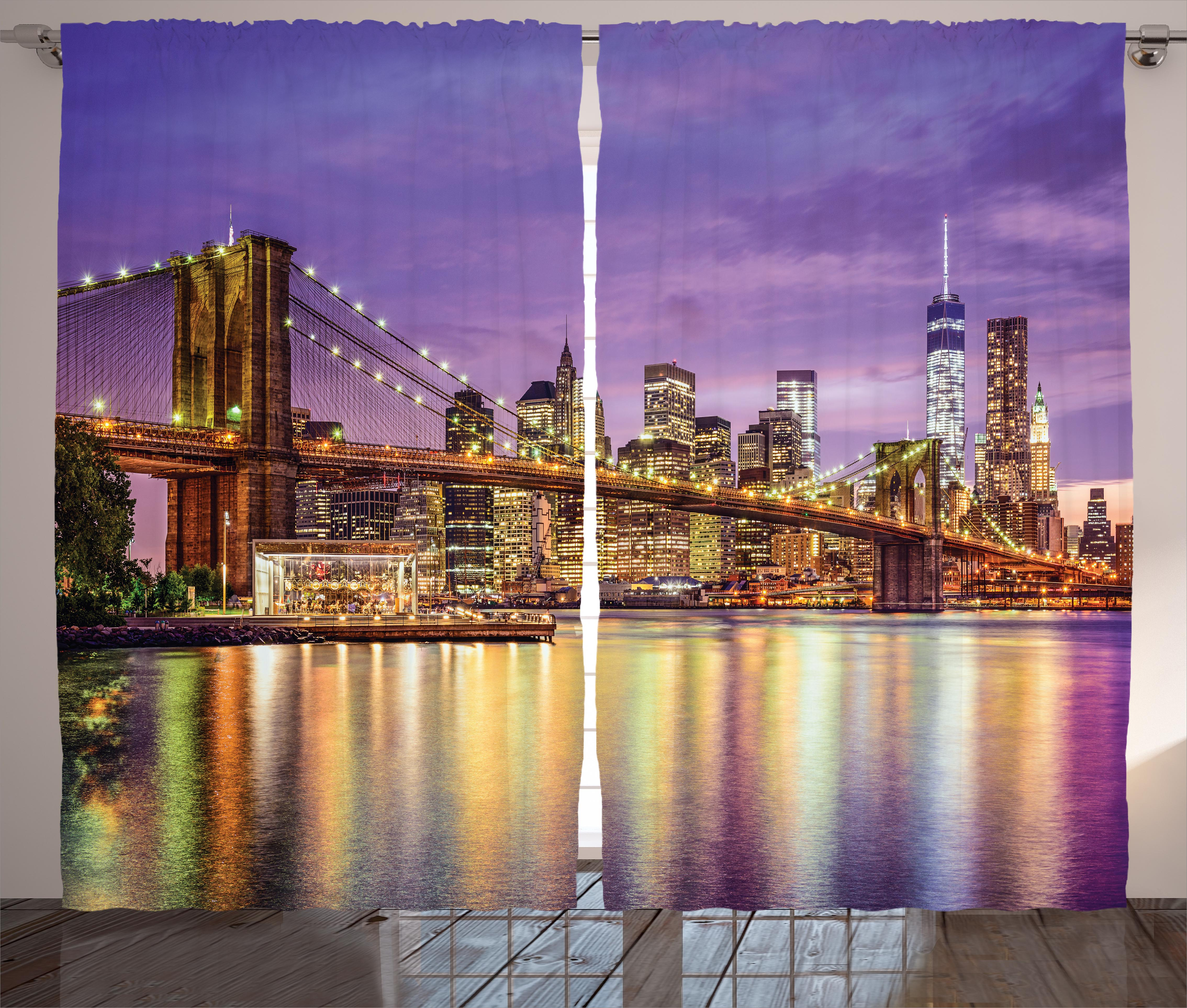 New York Curtains 2 Panels Set, NYC Exquisite Skyline Manhattan Broadway  Old Neighborhood Tourist Country