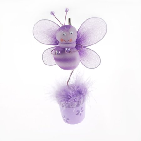Bee Flower Pot Place Card Holder, 6-Inch, Lavender - CLOSEOUT ()