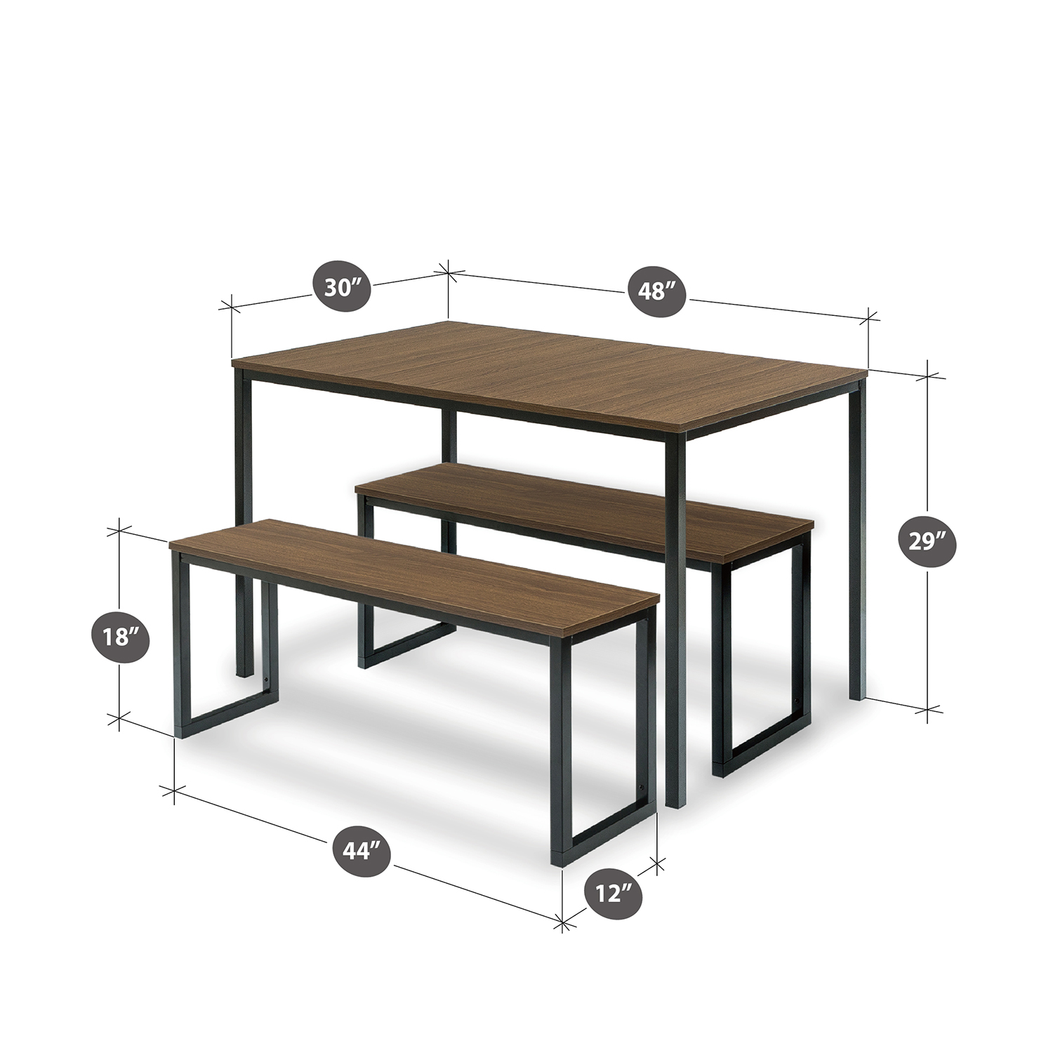 e8b4fdfcc Zinus Louis Modern Studio Collection Soho Dining Table with Two Dining  Benches