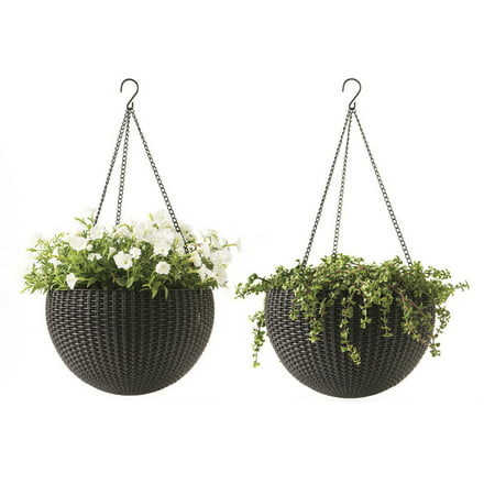 16 Plastic Planter - Keter Round Resin Hanging Planters, 2pk, All-Weather Plastic Planters, 13.8