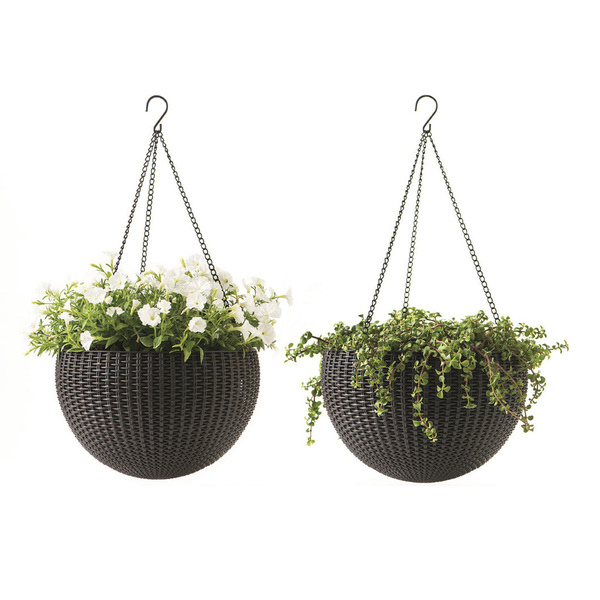 "Keter Round Resin Hanging Planters, 2pk, All-Weather Plastic Planters, 13.8"" Diameter, Brown Rattan"