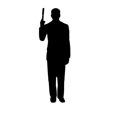 Secret Agent Spy With Gun Silhouette Life-size Standup Standee Cardboard Cutout (Halloween Silhouette Cutouts)