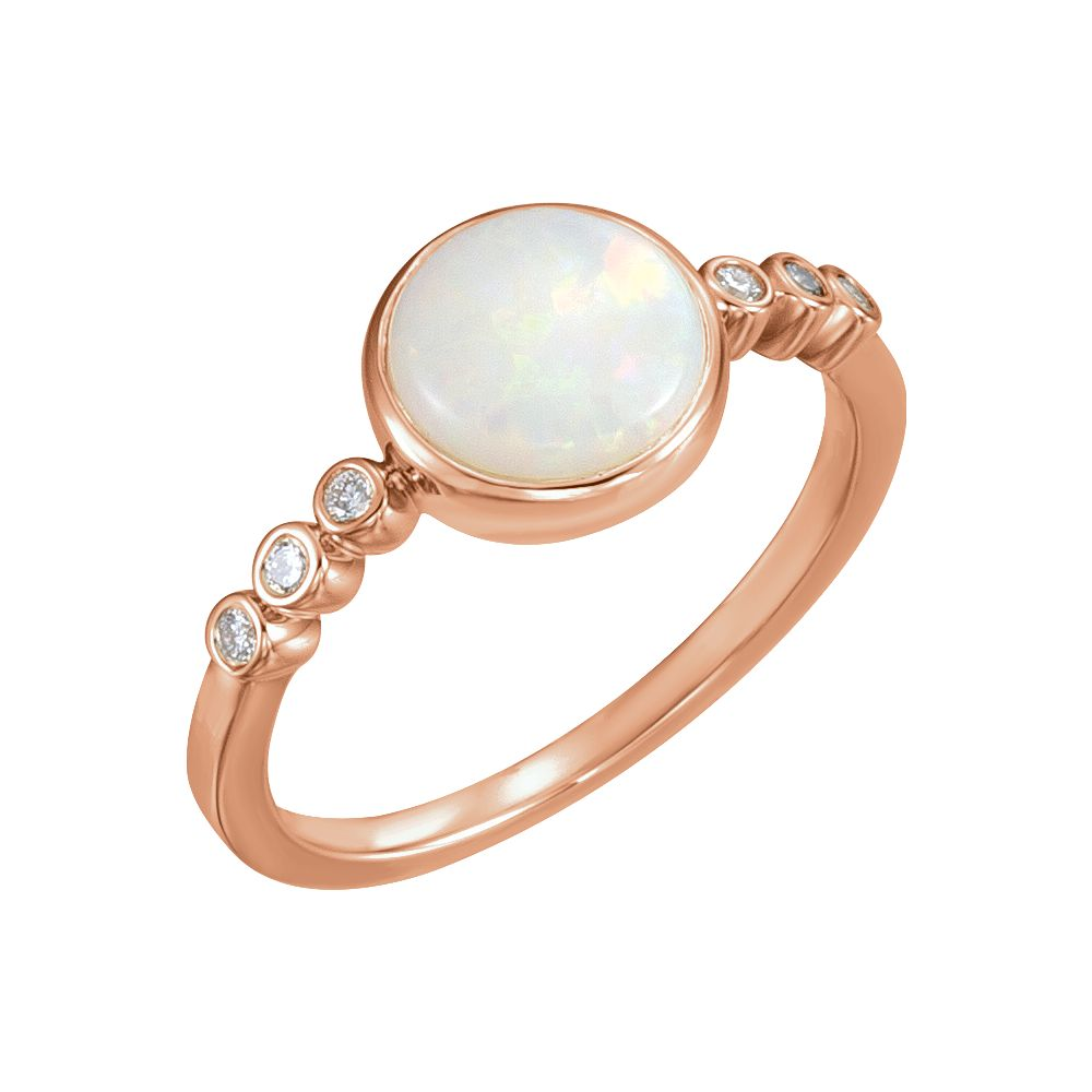 14k Rose Gold Opal & 1 10 Ct Diamond Cabochon Bezel Set Gemstone Ring by