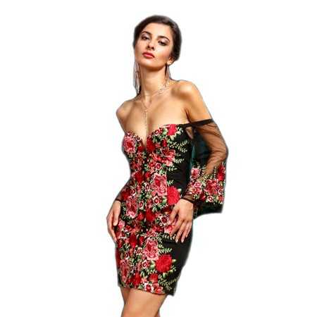 e7102b011a8e8 Crazy4Bling - Soieblu, Black & Red Floral Embroidered Off-the-Shoulder Mini  Short Dress, Small - Walmart.com