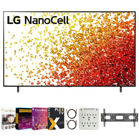 LG 43 Inch 4K Nanocell TV 2021 Model Bundle with Premiere Movies Streaming 2020 + 37-100 Inch TV Wall Mount + 6-Outlet Surge Adapter + 2x 6FT 4K HDMI 2.0 Cable