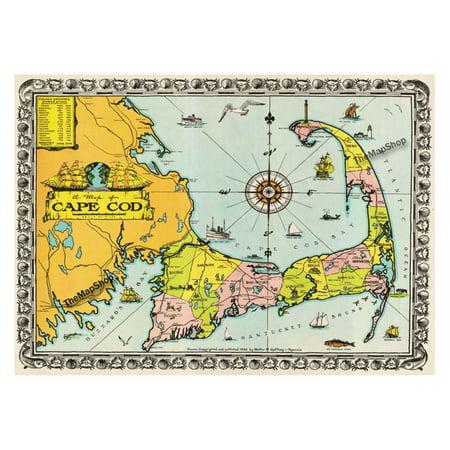 buyartforless 1932 Walter M Gaffney Map of Cape Cod Wall Art ...