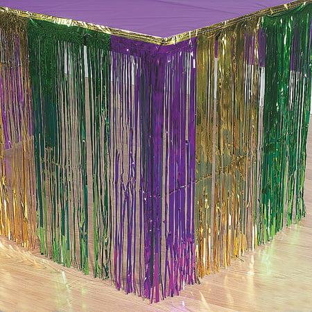 Mardi Gras Metallic Fringe Table Skirt - Party Supplies - 1 Piece