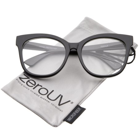 zeroUV - Women's Horn Rimmed Clear Flat Lens Oversize Cat Eye Glasses 57mm (Black / Clear) - (Zerouv Clear Frames)