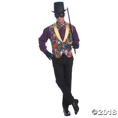 Men's Vest & Bow Tie Mardi Gras Costume Set