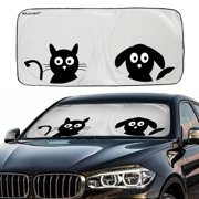 "Car Windshield Sunshade with Pet Design(59""x33""), iClover Cute Cartoon Design Front Auto Car Windshield Sun Shade Folding Silvering Sun Visor - UV Coating for UV Ray Deflector"