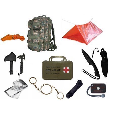 Ultimate Arms Gear Level 3 Molle Woodland Digital Backpack Kit  Signal Mirror  Polarshield Blanket  Knife Fire Starter  Wire Saw  Axe  50 Foot Paracord  Camping Tube Tent  Whistle   First Aid Kit