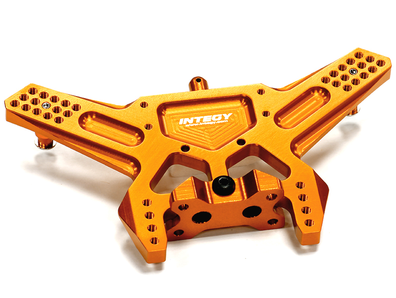 Integy RC Toy Model Hop-ups T8672ORANGE Billet Machined Rear Shock Tower for 1 10 Traxxas... by Integy