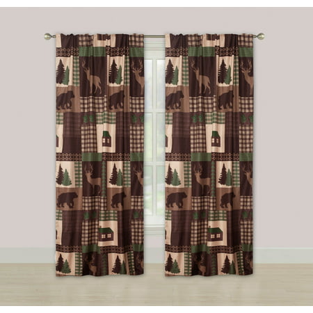 Rustic Cabin Window Curtains Panel Pair Drapes Lodge Deer and Bear 84