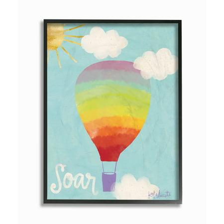 Air Framed - The Kids Room by Stupell Soar Rainbow Hot Air Balloon Framed Giclee Texturized Art, 11 x 1.5 x 14