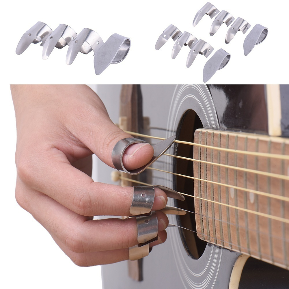 Micelec 1 Thumb with 3 Finger Metal Nail Picks Open Design for Banjo Ukulele Guitar