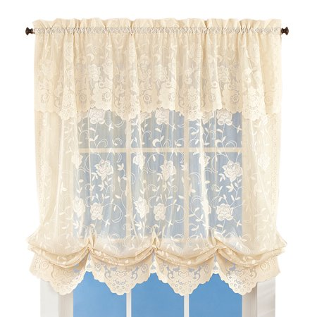 Floral Sheer Lace Tie-up Balloon Shade Window Curtain with Scalloped Edges and Rod Pocket Top for Easy Hanging ()