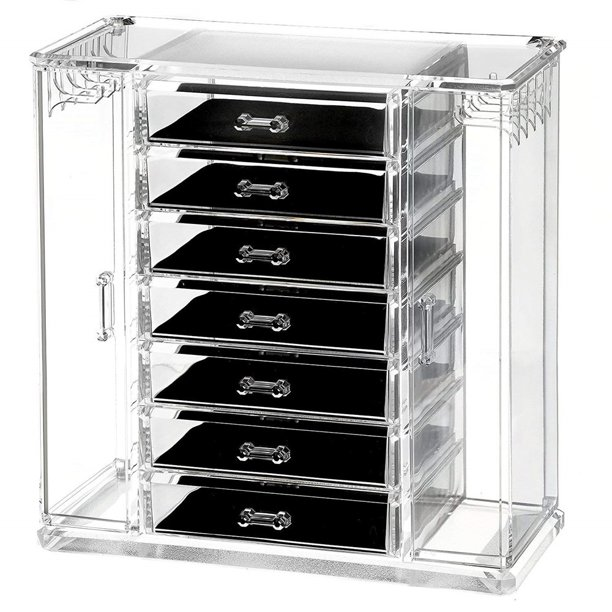 Clear Acrylic Jewelry Organizer And Makeup Organizer Cosmetic Organizer And Large 7 Drawer Jewelry Chest Or Makeup Storage Ideas Case Lipstick Liner Brush Holder Make Up Boxes Walmart Com Walmart Com