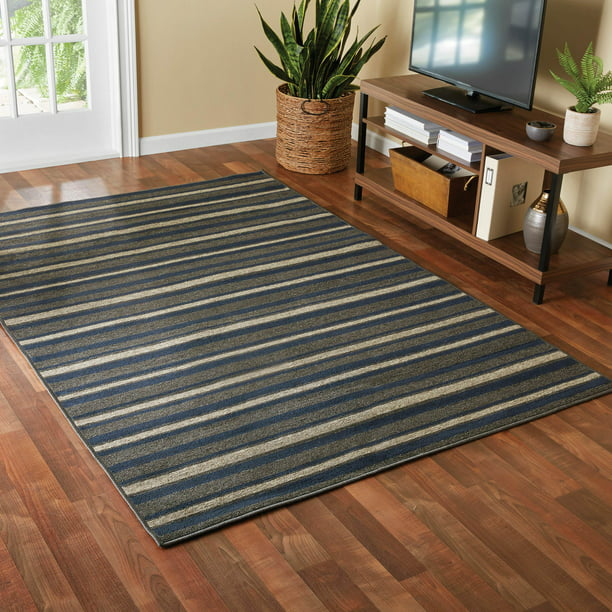 Mainstays Sonata Striped Indoor Living Room Area Rug Navy Blue And Gray 5 X 7 Walmart Com Walmart Com