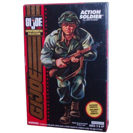 GI Joe Year Commemorative Collection 3 3/4 Inch Tall Action Figure - Action Soldier U.S. Army Infantry with Battle Bunker, Bazooka that Shoots and Accessories, GI Joe.., By Hasbro From USA (Party City Joe Battle)