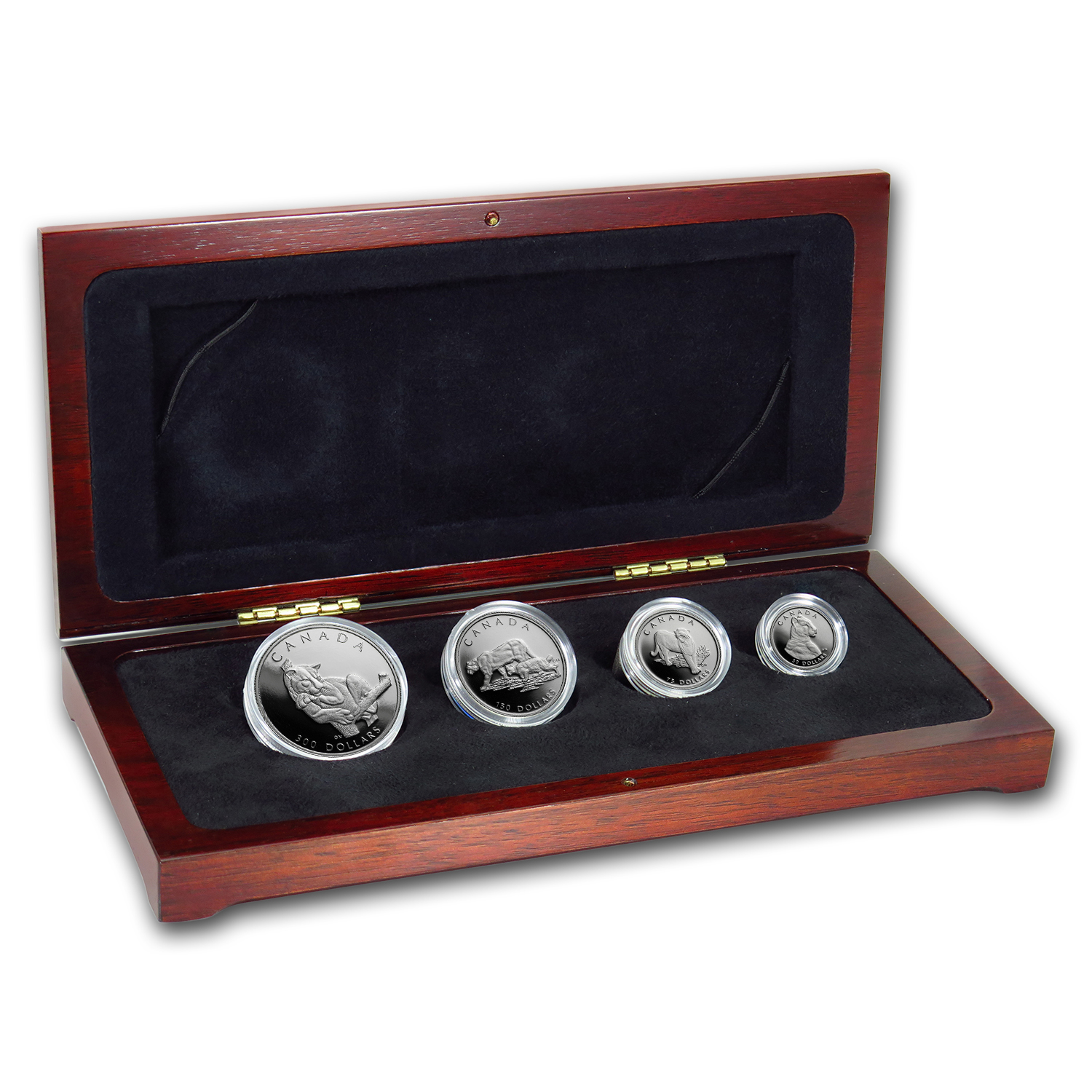 1992 Canada 4-Coin Platinum Proof Set: Cougar (w Box & CoA) by