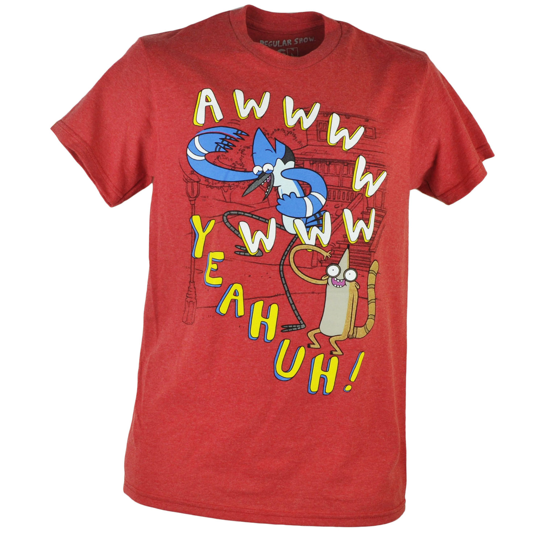Cartoon Network Regular Show Comedy Awww Yeahuh Heather Red Tshirt Tee XLarge