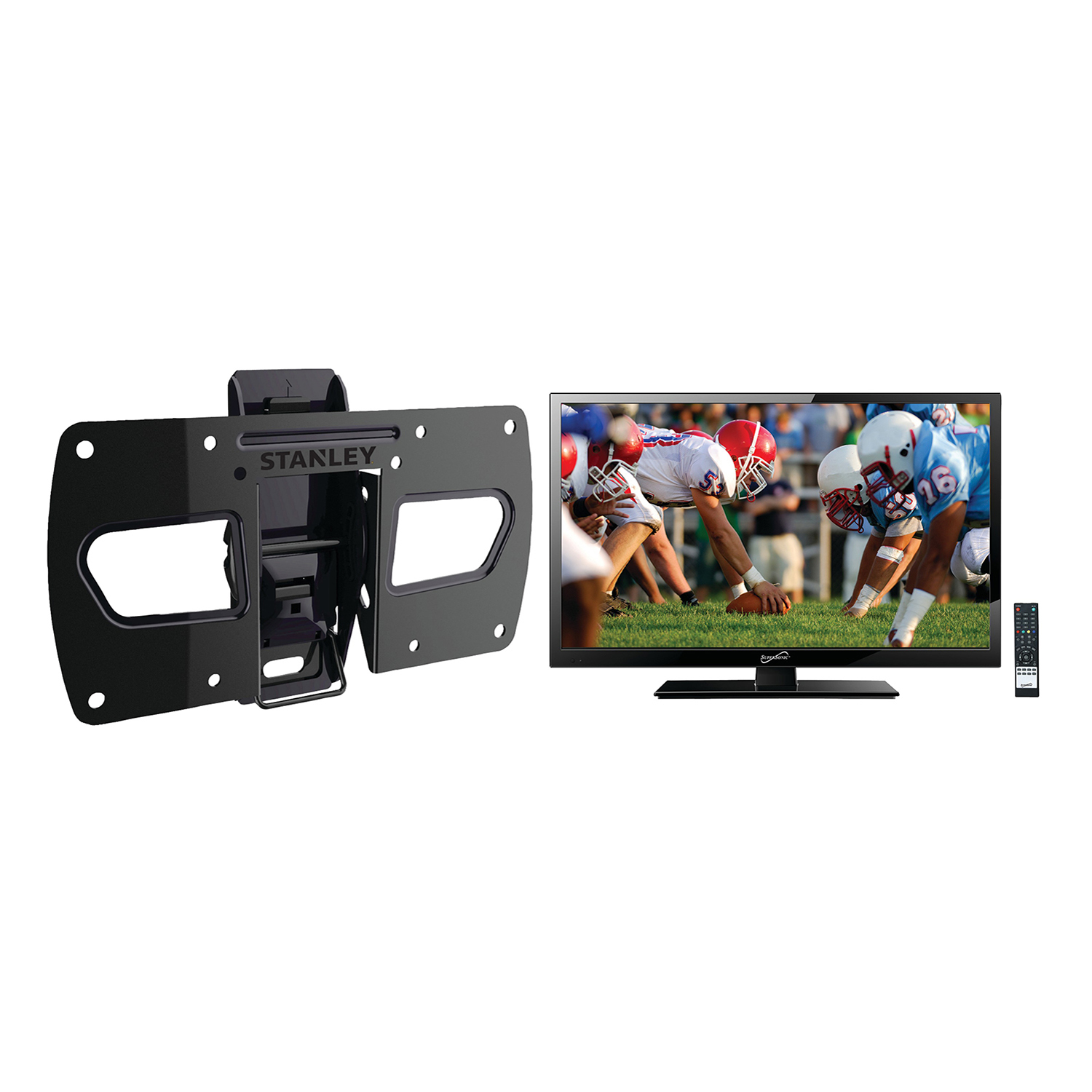 "Supersonic 19"" Class HD (720P) LED TV (SC-1911) and Stanley TMR-EC3103T Tilt Wall Mount"