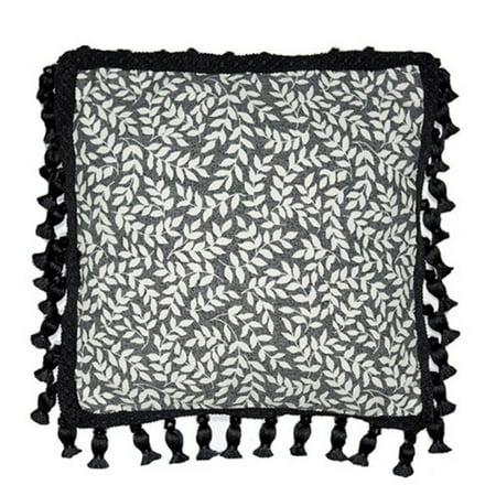 Leaf Print Tassel Throw Pillow by Thomasville At (Thomasville Barcelona Creme)