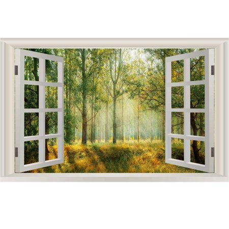 "VWAQ Landscape Wall Decals Window - Nature Scene Vinyl Mural For Wall - NWT4 (22"" H X 33"" W)"