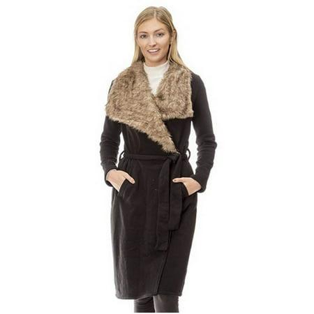 Love Collection Faux Fur Fleece Wrap Coat Black Ivory Charcoal Sz S M L A0167RM (S,Black)