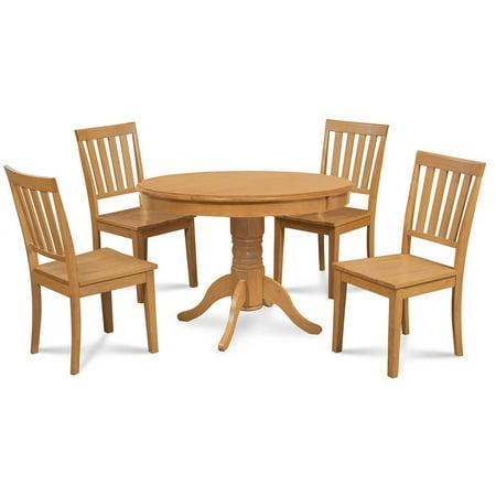 5-Pc Pedestal Kitchen Table Set in Oak