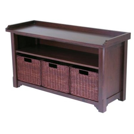 Winsome Wood MilanWood Storage Bench in Antique Walnut Finish with Storage Shelf and 3 Rattan Baskets in Antique Walnut  Finish