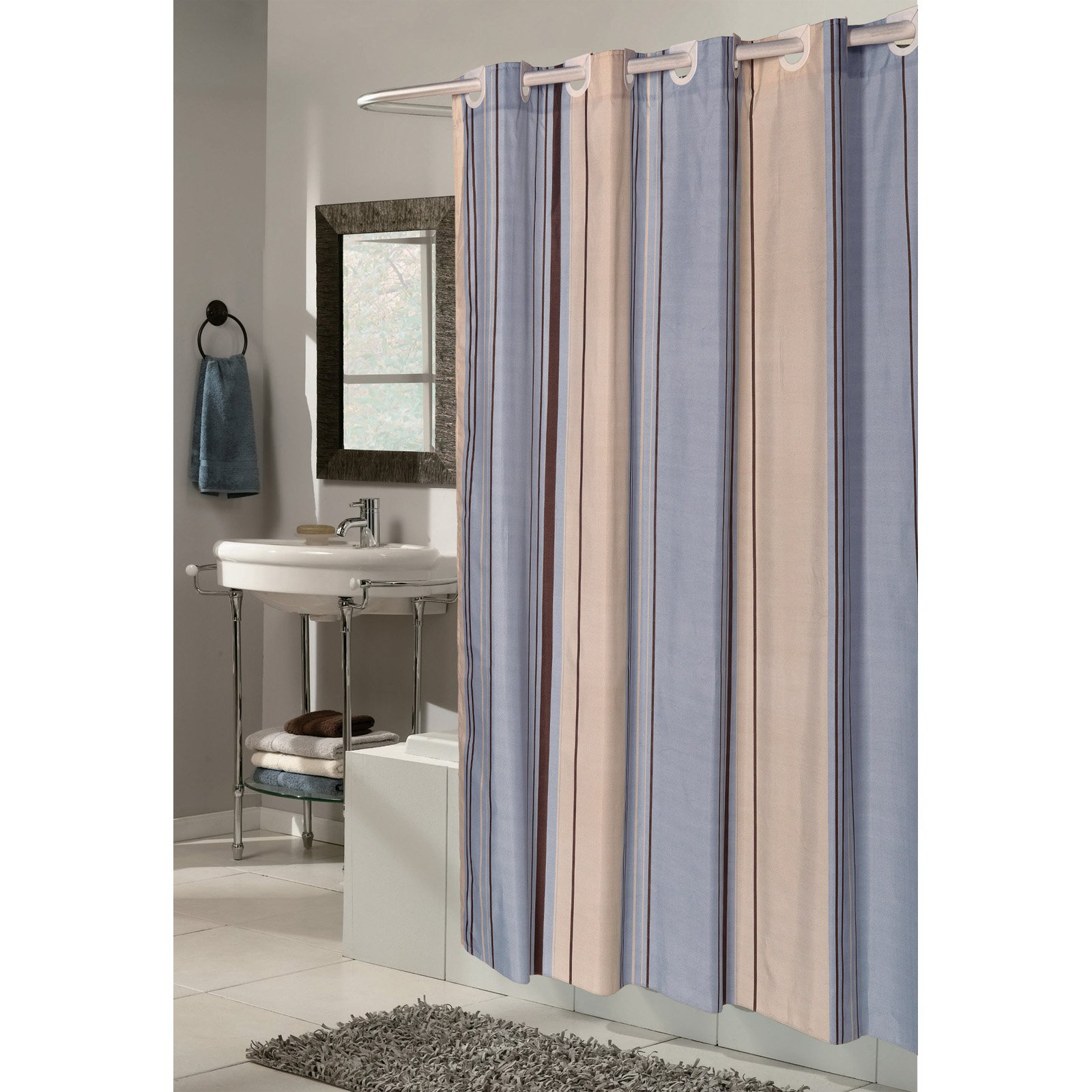 EZ ONR Stripes Polyester Shower Curtain In Light Blue