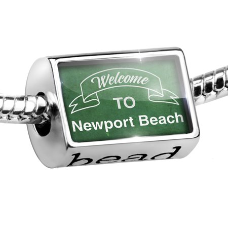 Bead Green Sign Welcome To Newport Beach Charm Fits All European Bracelets ()