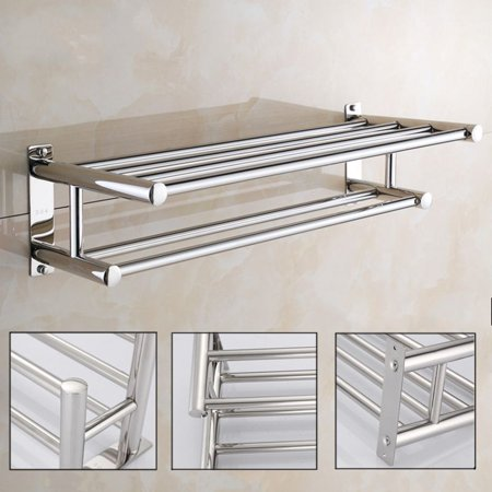 Dilwe Stainless Steel Bath Towel Rack Bathroom Shelf with Double Towel Bar Storage Organizer Contemporary Hotel Square Style Wall Mount