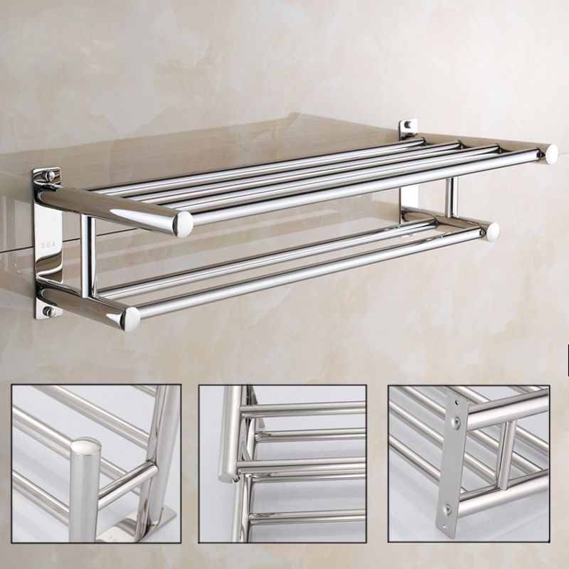 Dilwe Stainless Steel Bath Towel Rack Bathroom Shelf With Double Towel Bar  Storage Organizer Contemporary Hotel