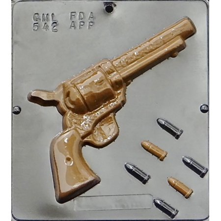 542 Six Shooter Revolver & Bullets Chocolate Candy Mold thumbnail