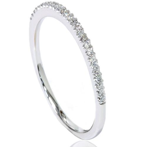 .15Ct Natural Diamond Petite Wedding Ring 10K White Gold