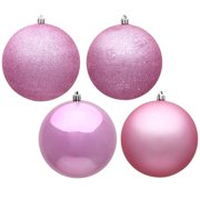 """Vickerman 480748 - 1"""" Pink 4 Assorted Finishes Ball Christmas Tree Ornament (18 pack) (N590379)"""