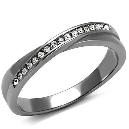 High Polished Stainless Steel Top Grade Crystal Fashion Ring Women