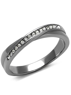 High Polished Stainless Steel Top Grade Crystal Fashion Ring Women's Size 7