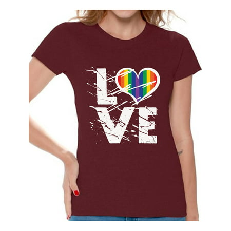 Awkward Styles Women's Love Graphic T-shirt Tops Love Rainbow Heart Graphic T-shirt Tops LGBTQ Pride Shirts for Women Rainbow Flag Shirt - Rainbow Tube Top