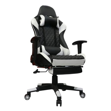 Kinsal Gaming Chair Including Headrest and Lumbar Support, Executive Computer Chair High-back Ergonomic Desk Chair Racing Chair, Leather Office Chair (Black&White)