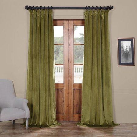Green 96 x 50 In. Plush Velvet Curtain Single Panel