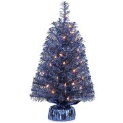 Holiday Time Pre-Lit 2' Noble Fir Artificial Christmas Tree, Blue, Clear Lights