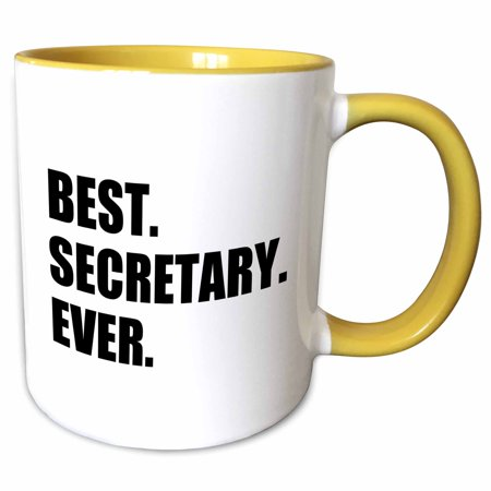 3dRose Best Secretary Ever, fun gift for talented secretaries, black text - Two Tone Yellow Mug,