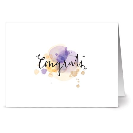 24 Note Cards - Purple Watercolor Script Congrats - Blank Cards - Kraft Envelopes (Congratulations On Completing 10 Years In Company)